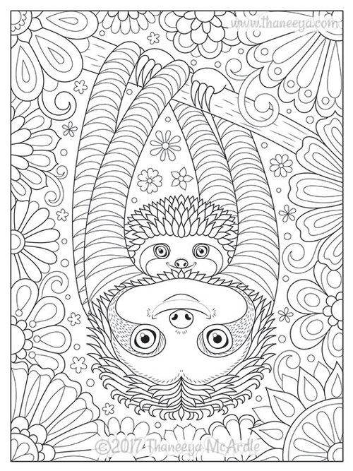 Cute Sloths Coloring Page by Thaneeya McArdle #adultcoloringpages