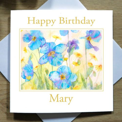 Personalised Hand Painted Meconoposis Flowers Birthday Card Her
