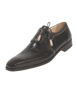 Men's Mauri Riva Brown Genuine Alligator Dress Shoes | Megasuits.com