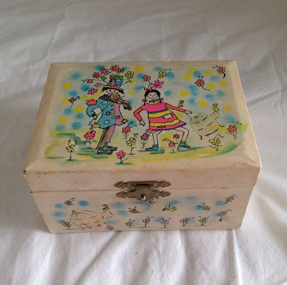 Vintage childrens jewelry box Mele ballerina jewelry box plays
