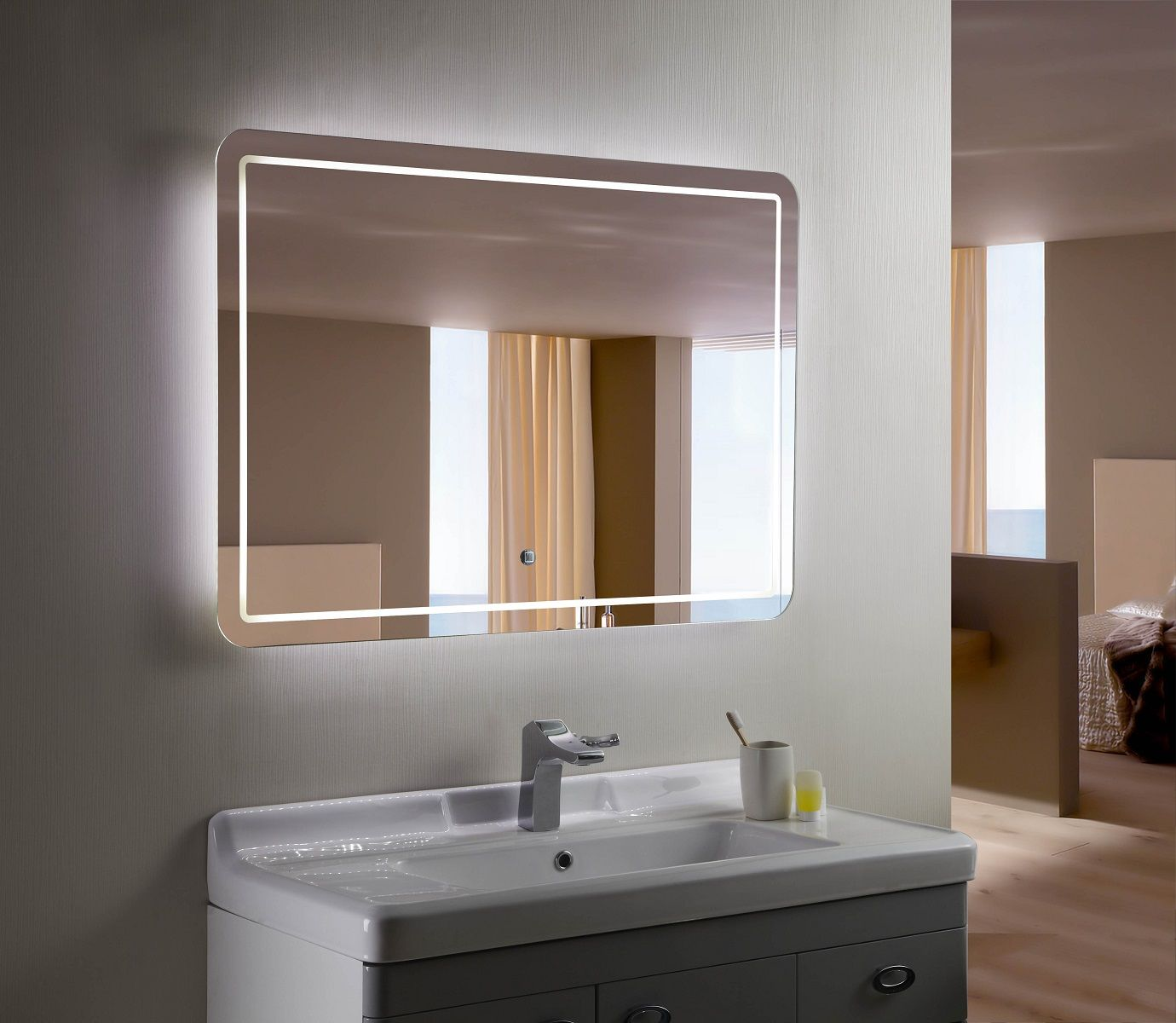 Bathroom Mirrors With Lights Built In bellagio ii backlit mirror led bathroom mirror | condo upgrades
