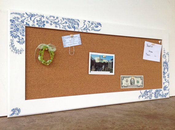 Large bulletin board - white frame with blue flower design ...