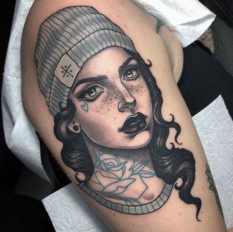 Girl With Beanie Tattoo Traditional Style Tattoo Traditional Tattoo Man Neo Traditional Tattoo