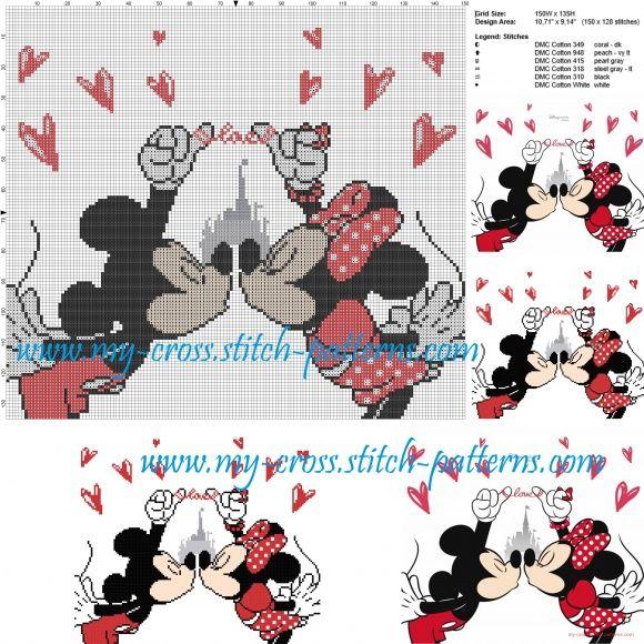 Minnie and Mickey Mouse cross stitch pattern | cross stitch ...