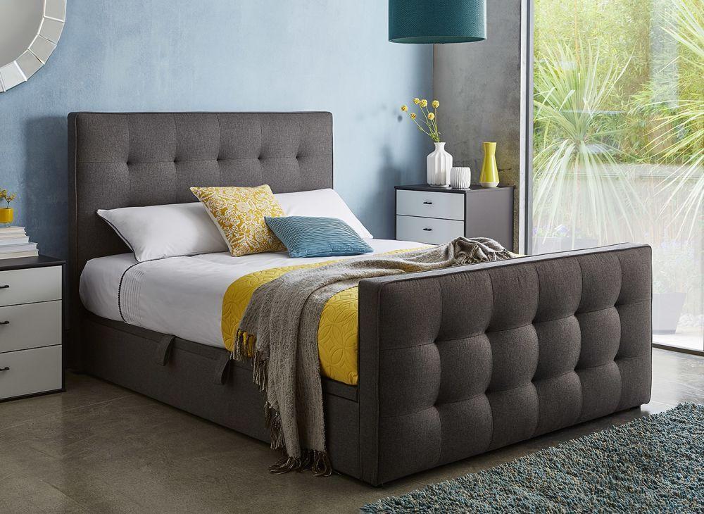 Cavill Grey Fabric Ottoman Bed Frame