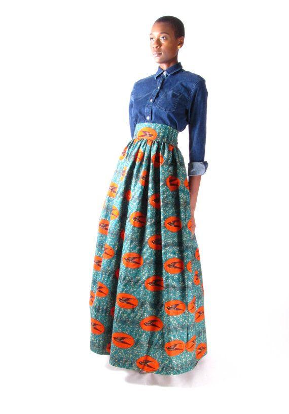 jupe africaine impression taille haute maxi par tribalgroove wax pinterest jupe africaine. Black Bedroom Furniture Sets. Home Design Ideas