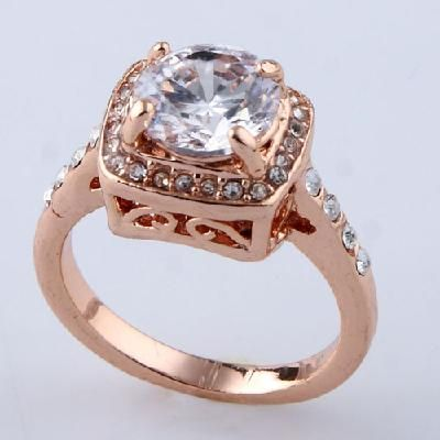 $21.99 Beautiful rose gold plated faceted white round crystal  for Gold Filled  SZ 7 8