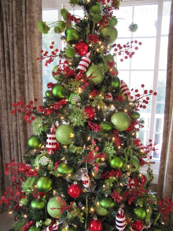 Red White Candy Apple Green Christmas Tree Green Christmas Tree Christmas Tree Themes Grinch Christmas Decorations