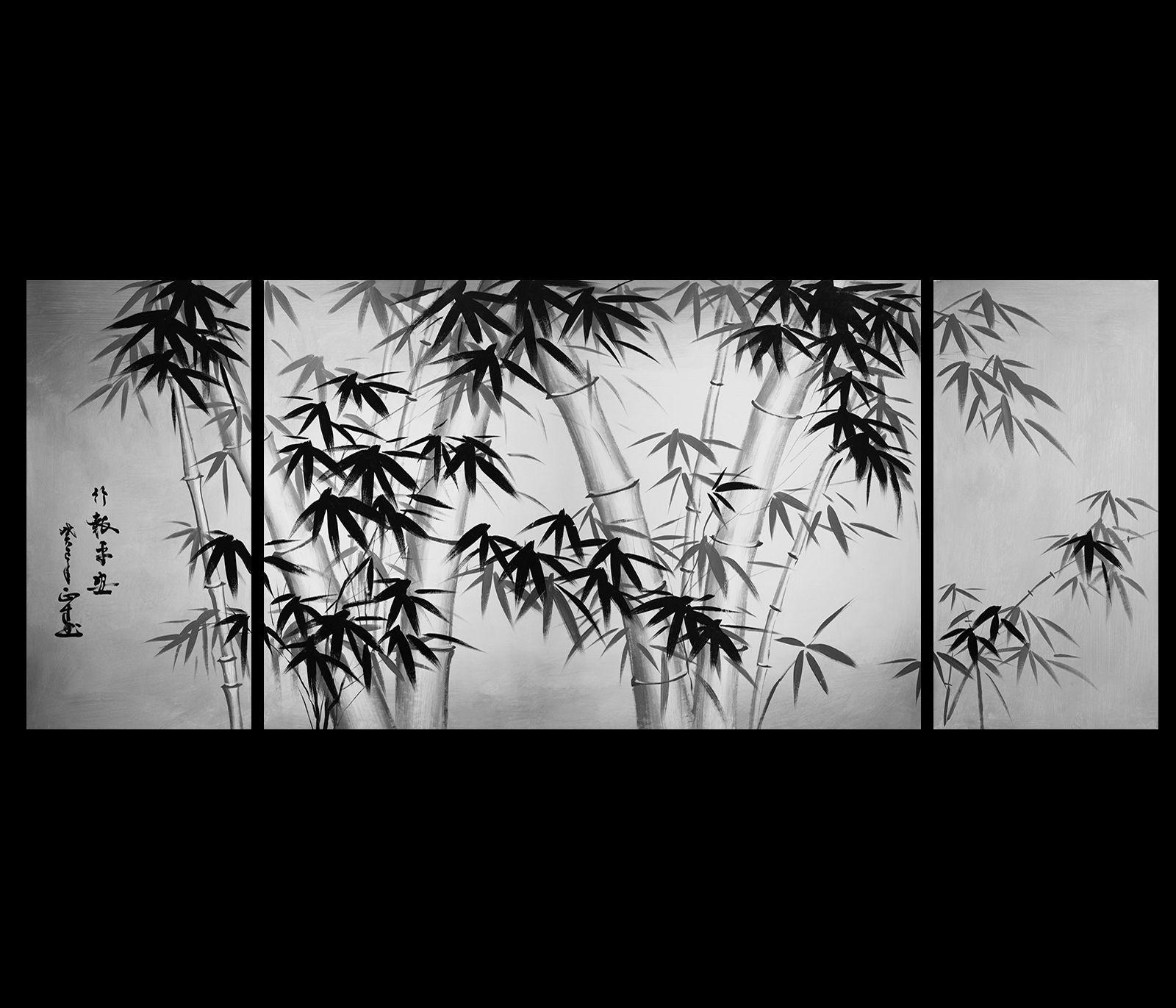 Merveilleux Bamboo Painting Canvas Art Asian Bamboo Art Modern Wall Art Decor