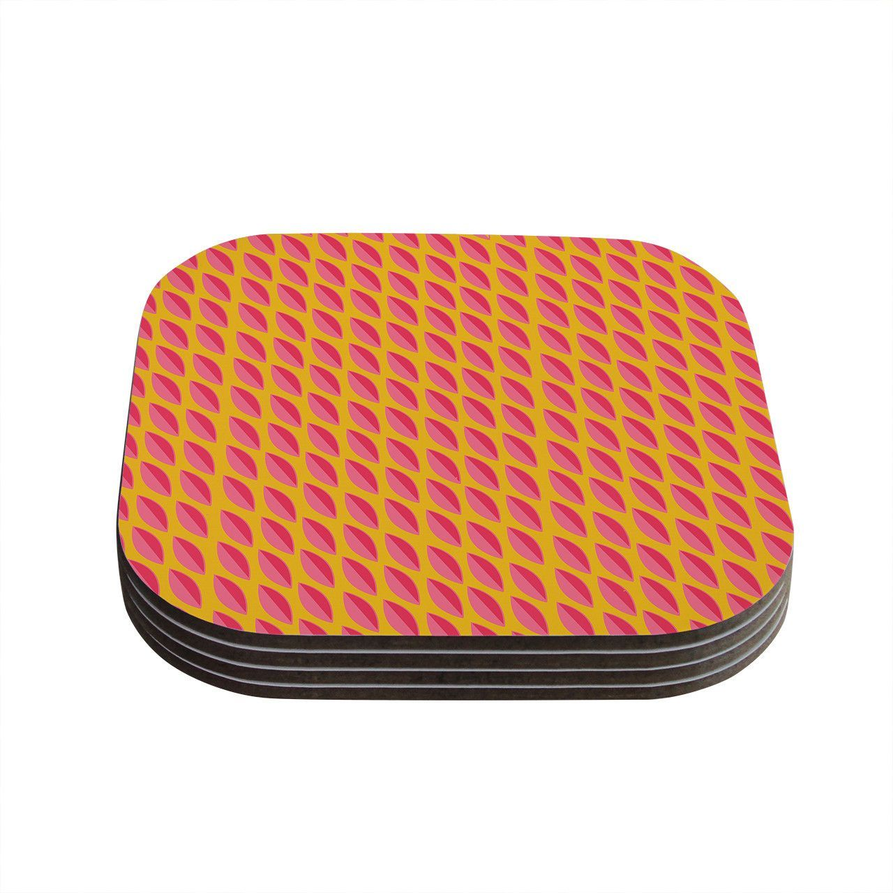 "Michelle Drew ""Seed Pods"" Magenta Orange Coasters (Set of 4)"