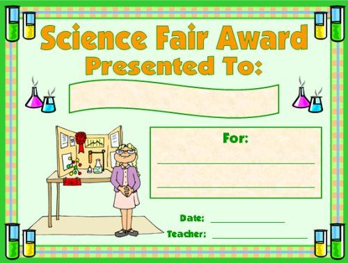 printable science fair certificates