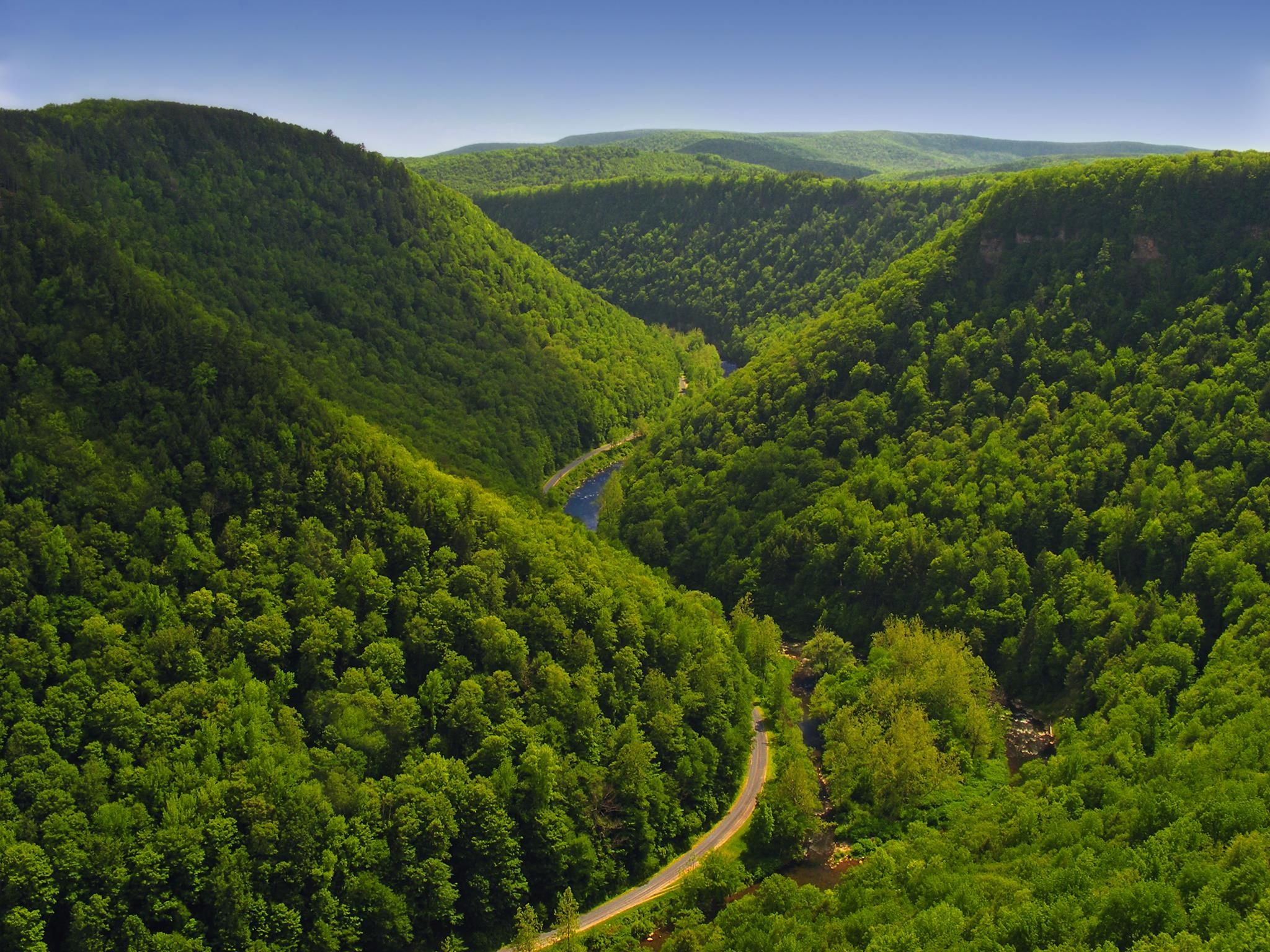 Pine Creek Gorge, sometimes called The Grand Canyon of Pennsylvania, is a 47-mile (76 km) gorge carved by Pine Creek in Pennsylvania.> http://en.wikipedia.org/wiki/Pine_Creek_Gorge
