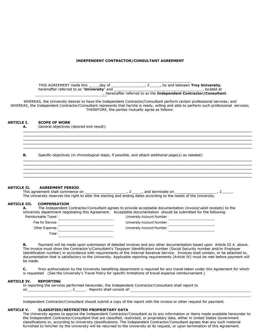 Free Contractor Agreement Template Graceful 50 Free