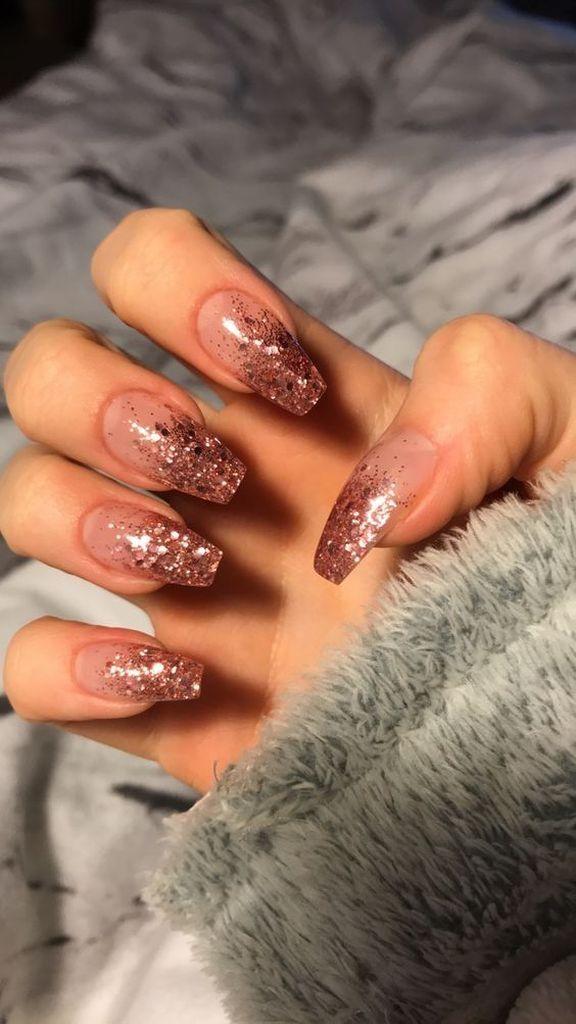 25 Elegant Fall Wedding Nail Art Ideas Pink Glitter Nails