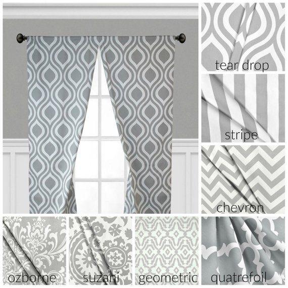Gray Curtains Window Treatments Grey Drapes Geometric Chevron Stripe Quatrefoil Curtain Panels Valan Window Treatments Panel Curtains Grey Curtains