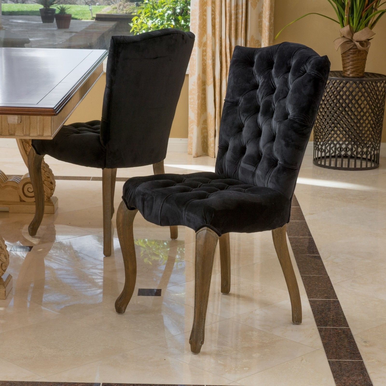 Set of 2 Elegant Black Velvet Tufted Dining Chairs