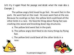 Angry Birds Teach Main Idea: Lesson & Game!