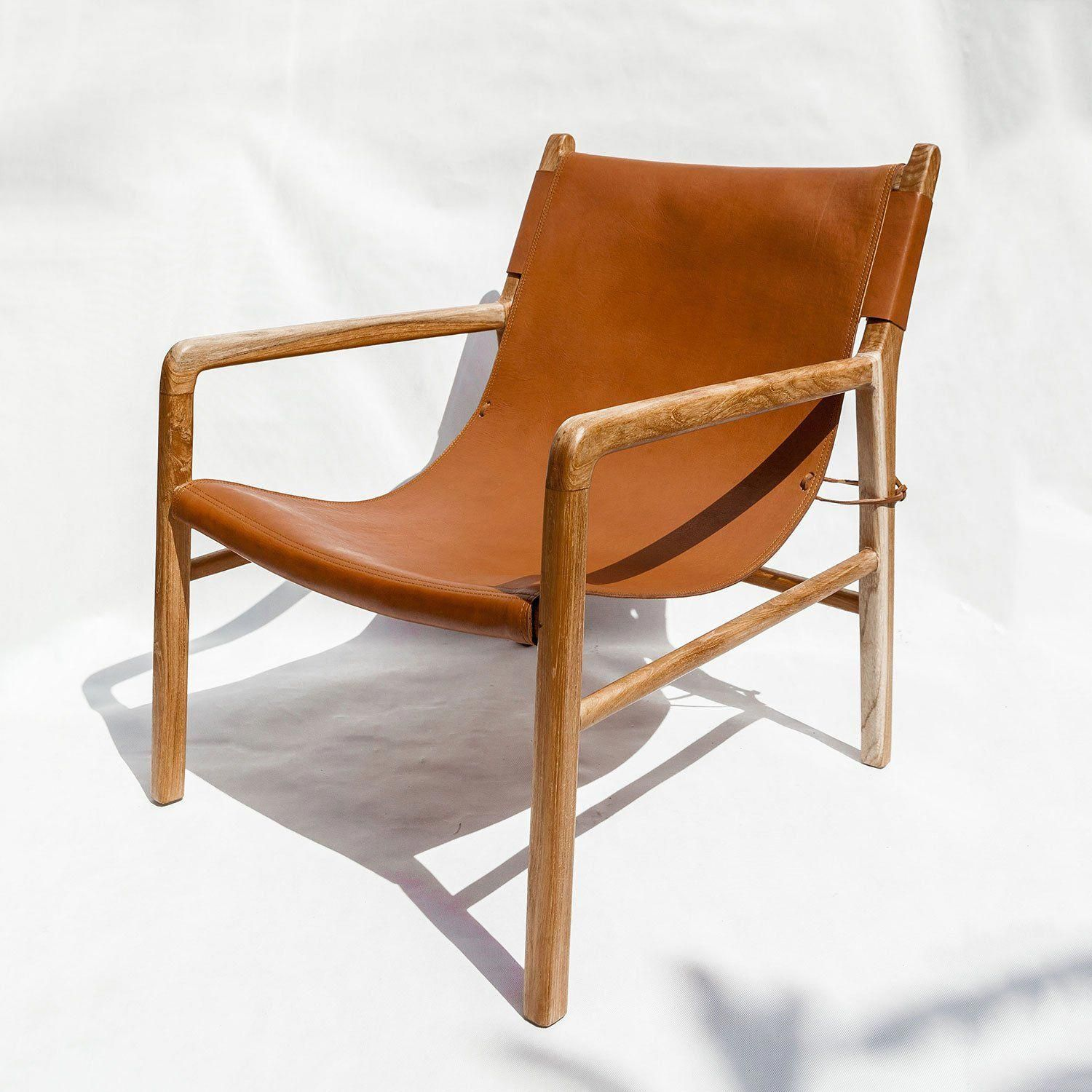 Hati Hati Home Waxed Teak Chair With Solid Leather Panels Hatihome Chairs Leather Sling Chair Chair Design Wooden Leather Lounge Chair