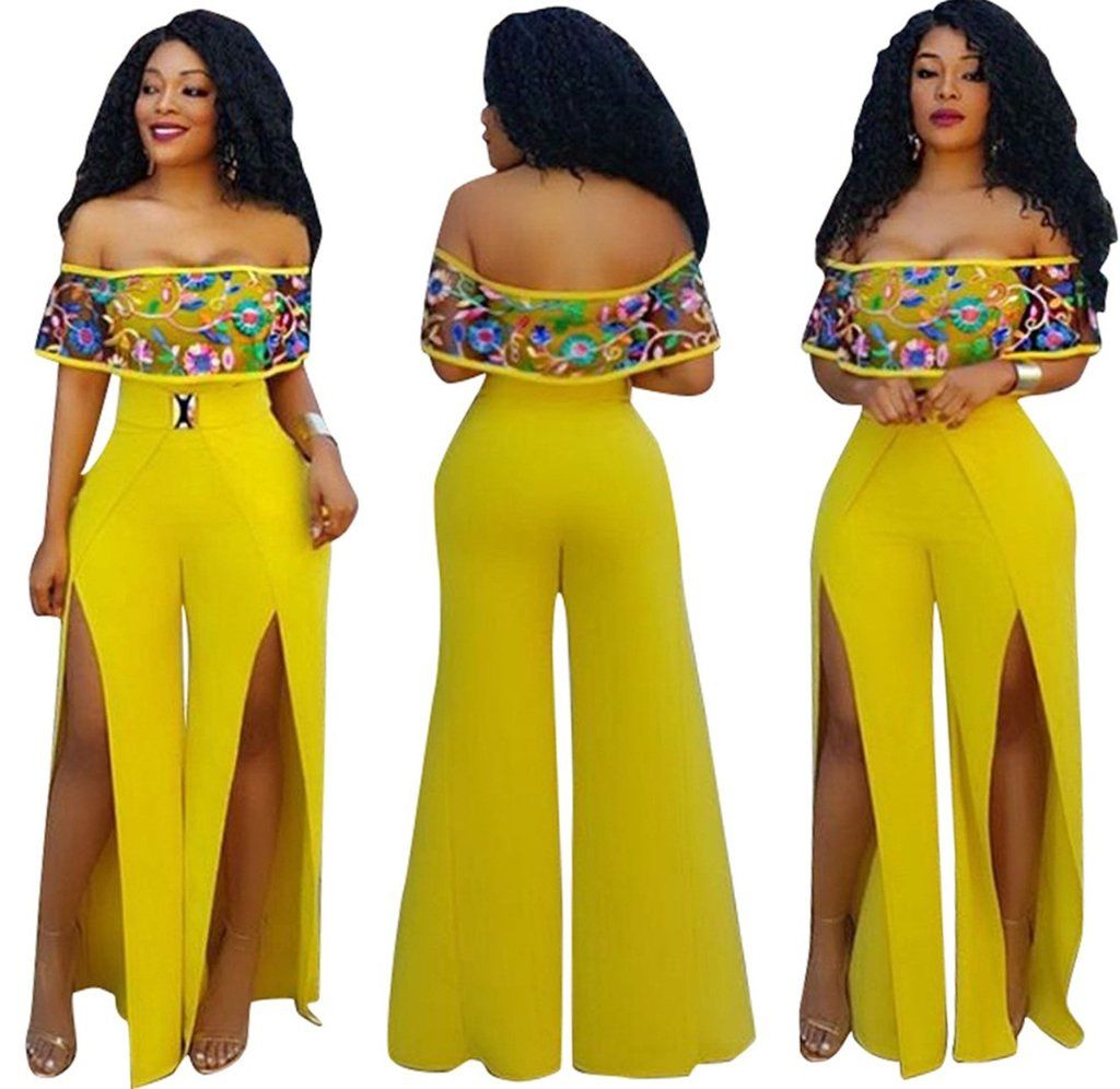 0583827dd1f1 2017 Floral Embroidery Strapless Jumpsuits Women Slash Neck Yellow Rompers  Summer Lady Off Shoulder Slit Tube Overalls