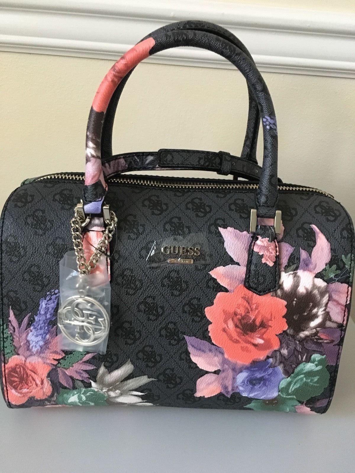 Guess Linnea Rose Floral Box Satchel Handbag Black Coal 89 0