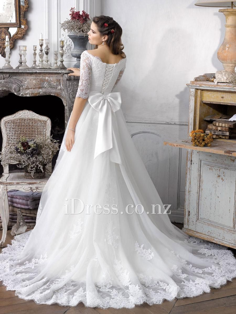 White Lace Half Sleeve Lace Up Bow Knot Wedding Gown Bow Wedding Dress Wedding Dresses Lace Wedding Dress Organza