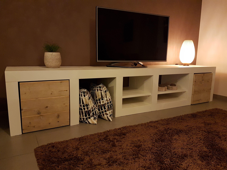 Meuble T L S Rie Whiteline De Chez Pays Bois Deco Ideas  # Meuble Tv Ancien Bois