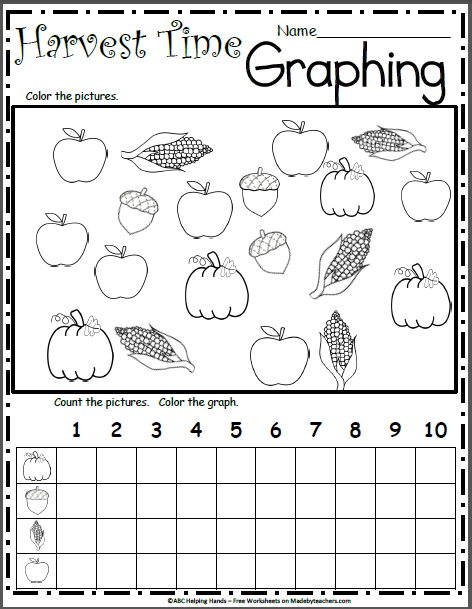 Free Math Graphing For The Fall Harvest Madebyteachers Preschool Worksheets Graphing Kindergarten Fall Math Activities