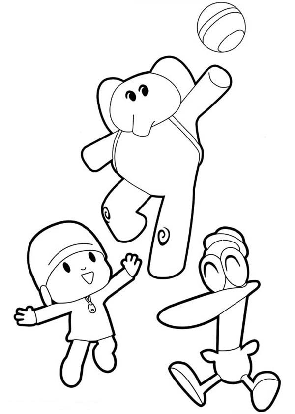 Pocoyo Elly And Pato Play Ball Together Coloring Page Color Luna In 2020 Coloring Pages Kids Coloring Books Pocoyo