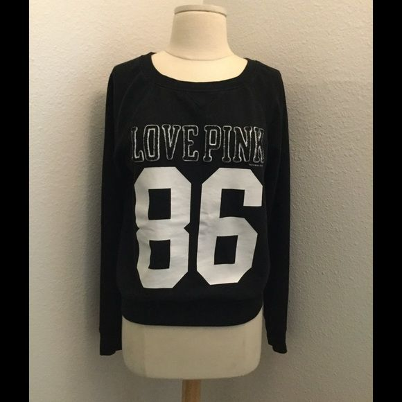 Pink Victoria's Secret sweater black sweater gently worn with a minor tiny minor stain on sleeve not very noticeable is on the bottom under sleeve overall is in grey condition no tears or rips⭐️ Victoria's Secret Sweaters Crew & Scoop Necks