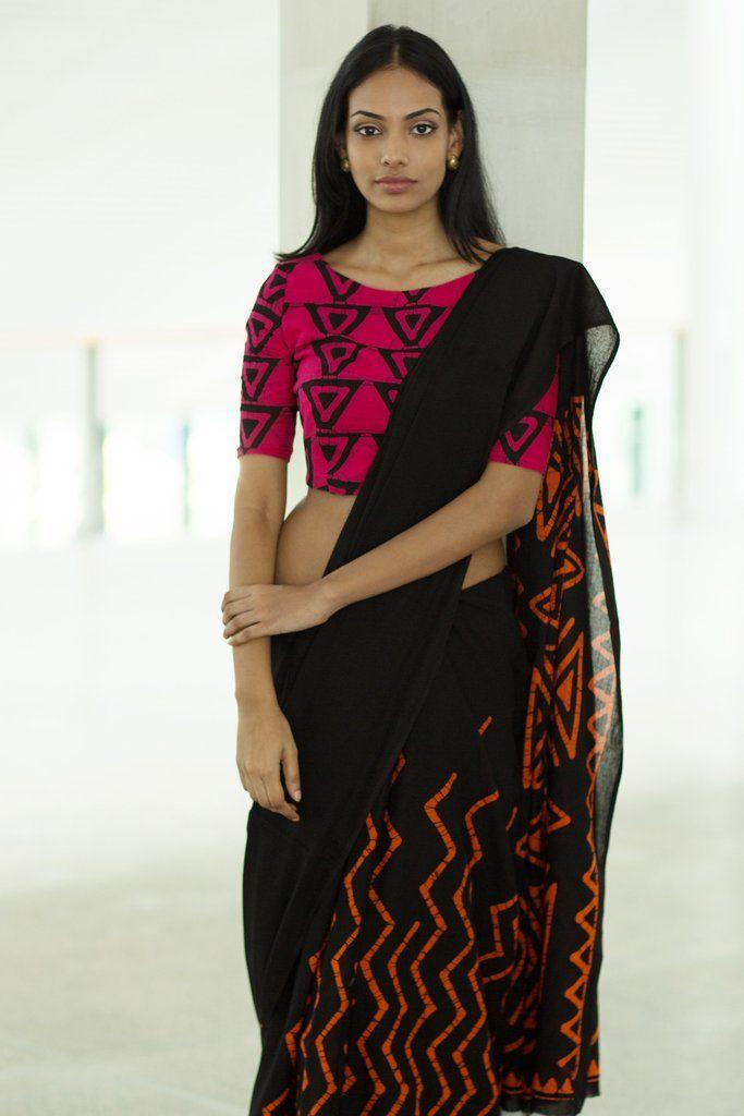 Aztec Print Batik Saree Shop At Www Fashionmarket Lk Free