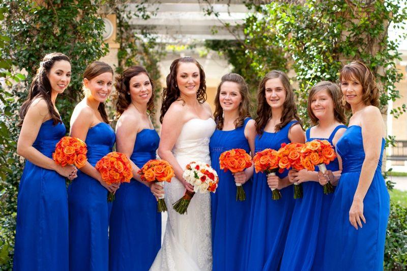 Orange Gown Wedding: Elegant Orange & Blue Wedding