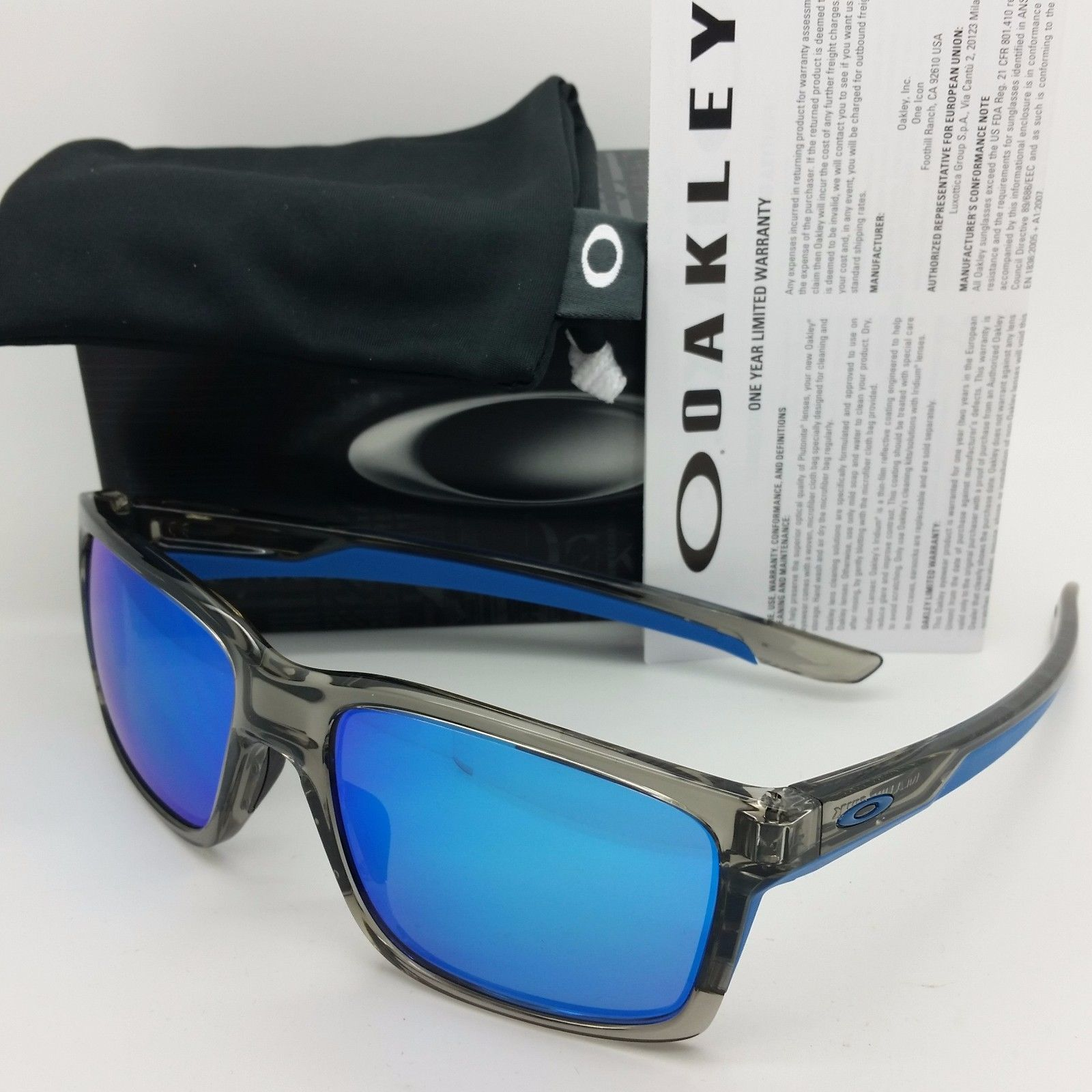 3f83c5f7f26 NEW OAKLEY MAINLINK Sunglasses Grey Ink Sapphire Iridium 9264-03 AUTHENTIC