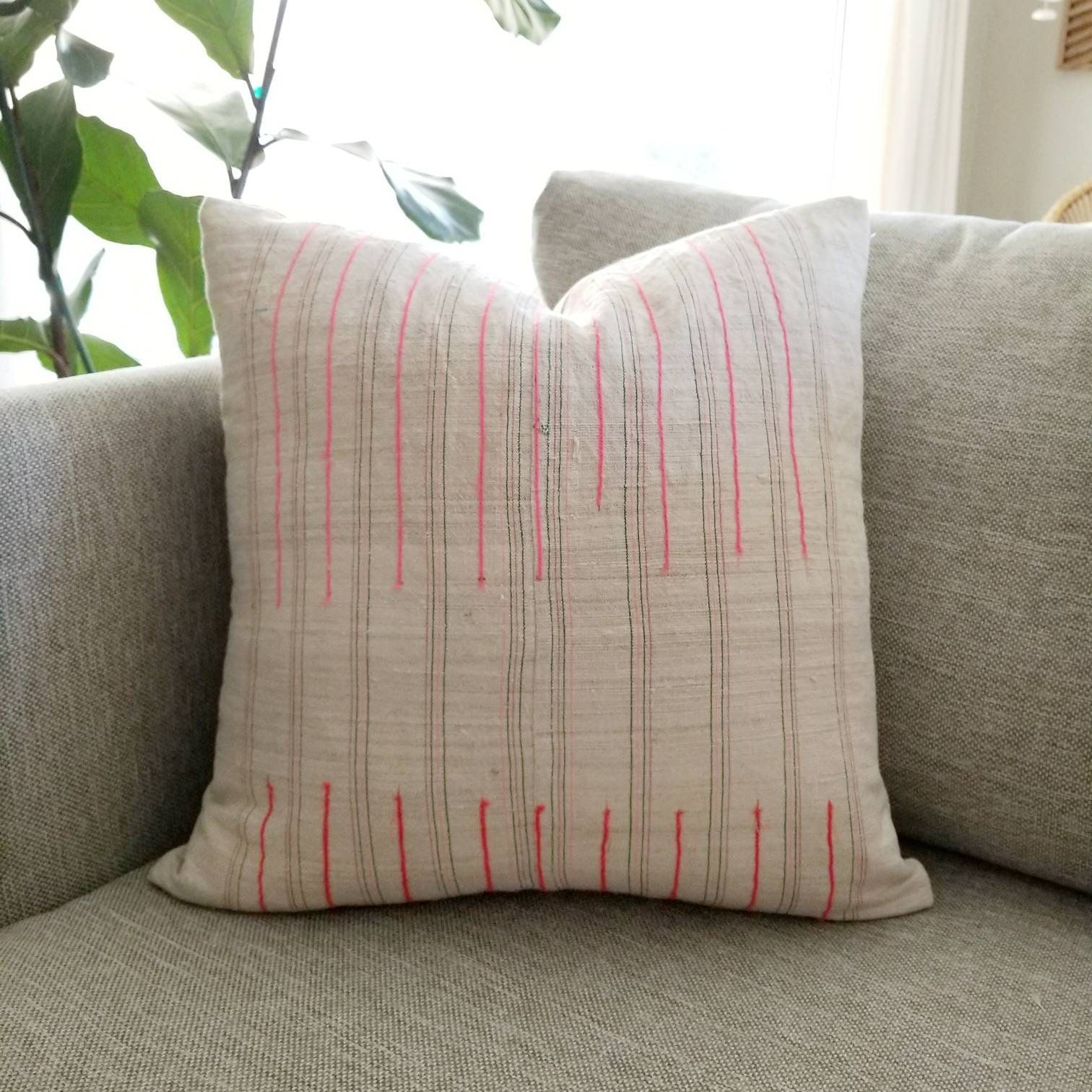 17 Hmong Pink Stripe Pillow Cover