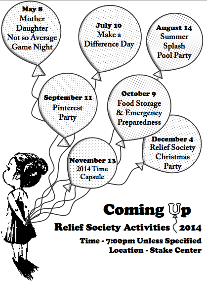 Relief Society; Coming Up, Party, Parties, Flyer, Activity