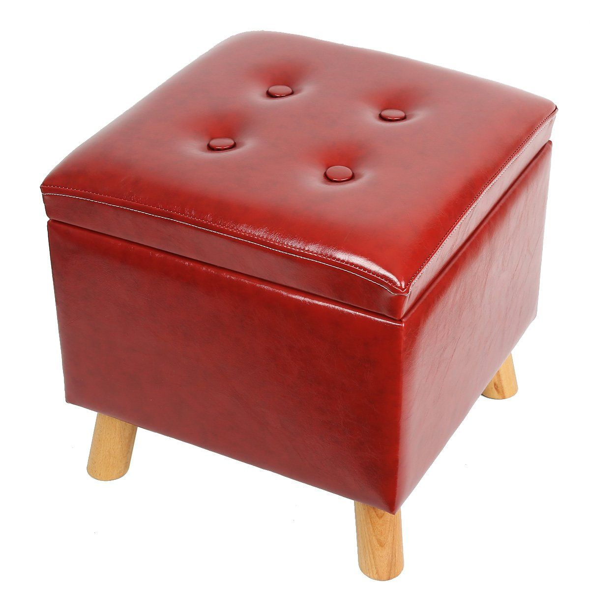 Eshow Ottoman With Storage Ottoman And Foot Stools Cube Leather Pouf Shoe Bench Storage Square S Storage Ottoman Bench Decoration And Furniture Storage Ottoman