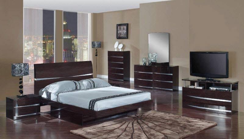 Global Furniture - Aurora 5 Piece King Platform Bedroom Set in Wenge