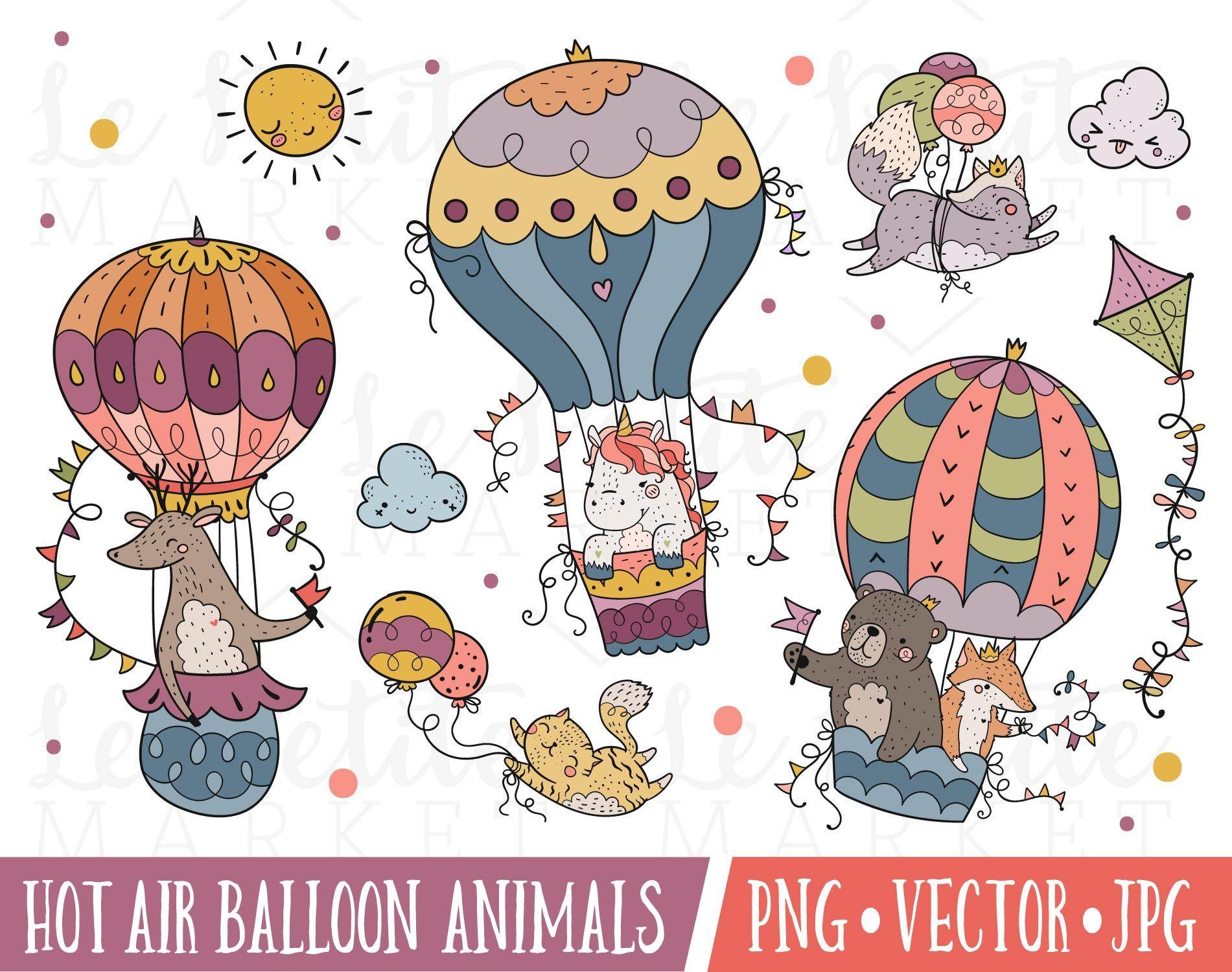 Hot Air Balloon Illustration Set Hot Air Balloon Animals Etsy In 2021 Balloon Illustration Hot Air Balloon Clipart Balloon Animals