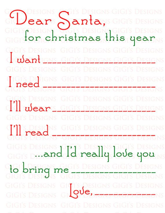 Dear Santa Letter I Want I Need ILl Wear ILl Read  And ID