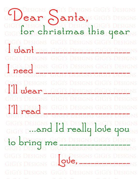 Dear Santa Letter I Want I Need ILl Wear ILl Read  And ID