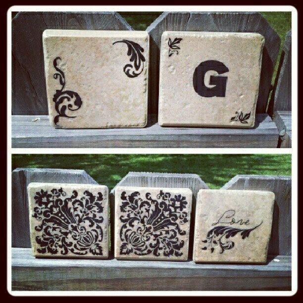 Ceramic Specialty Custom Coasters, Set of 4, Measure 4x4 inches Handmade. $15.00, via Etsy.