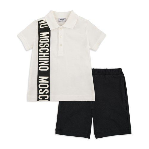 64ccb795e672 MOSCHINO Baby Boys Bold Logo Polo   Shorts Set - White Black Baby outfit set