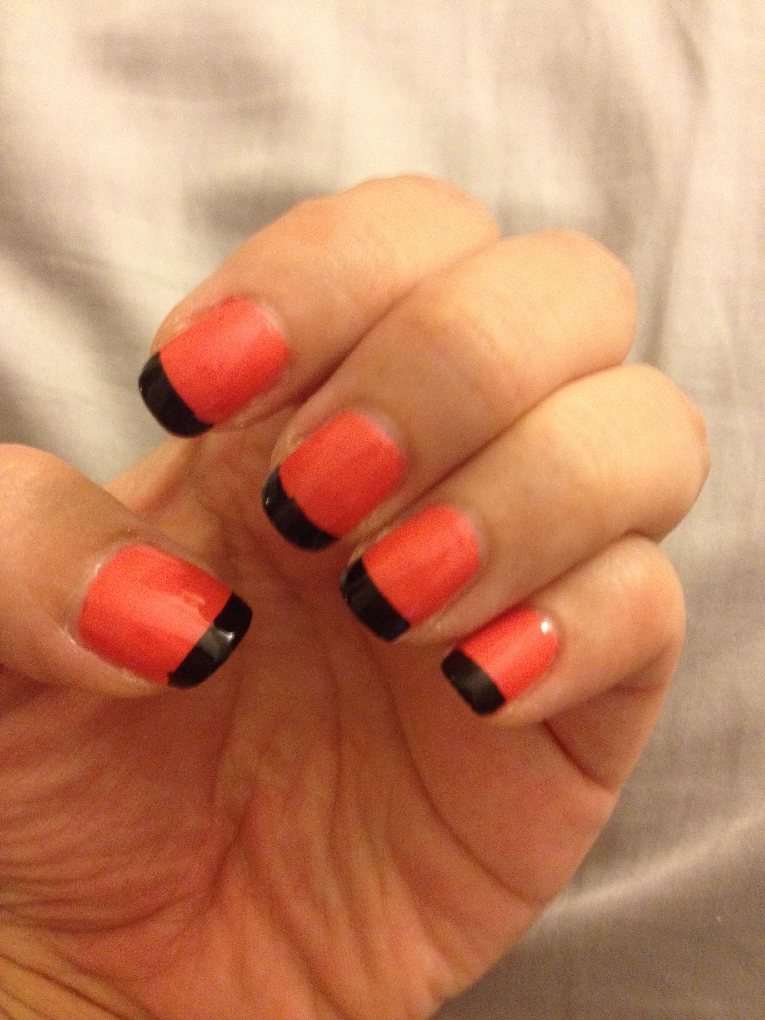 Orange with black French tip. Halloween nail art | My ...