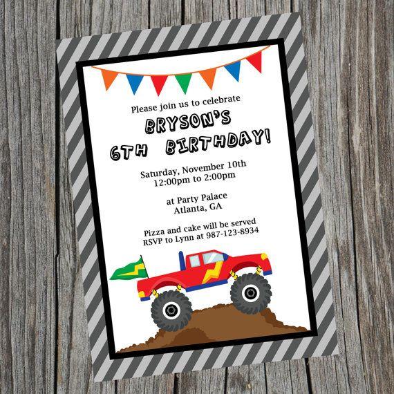 Custom Printable Monster Truck Birthday Party Invitation Monster