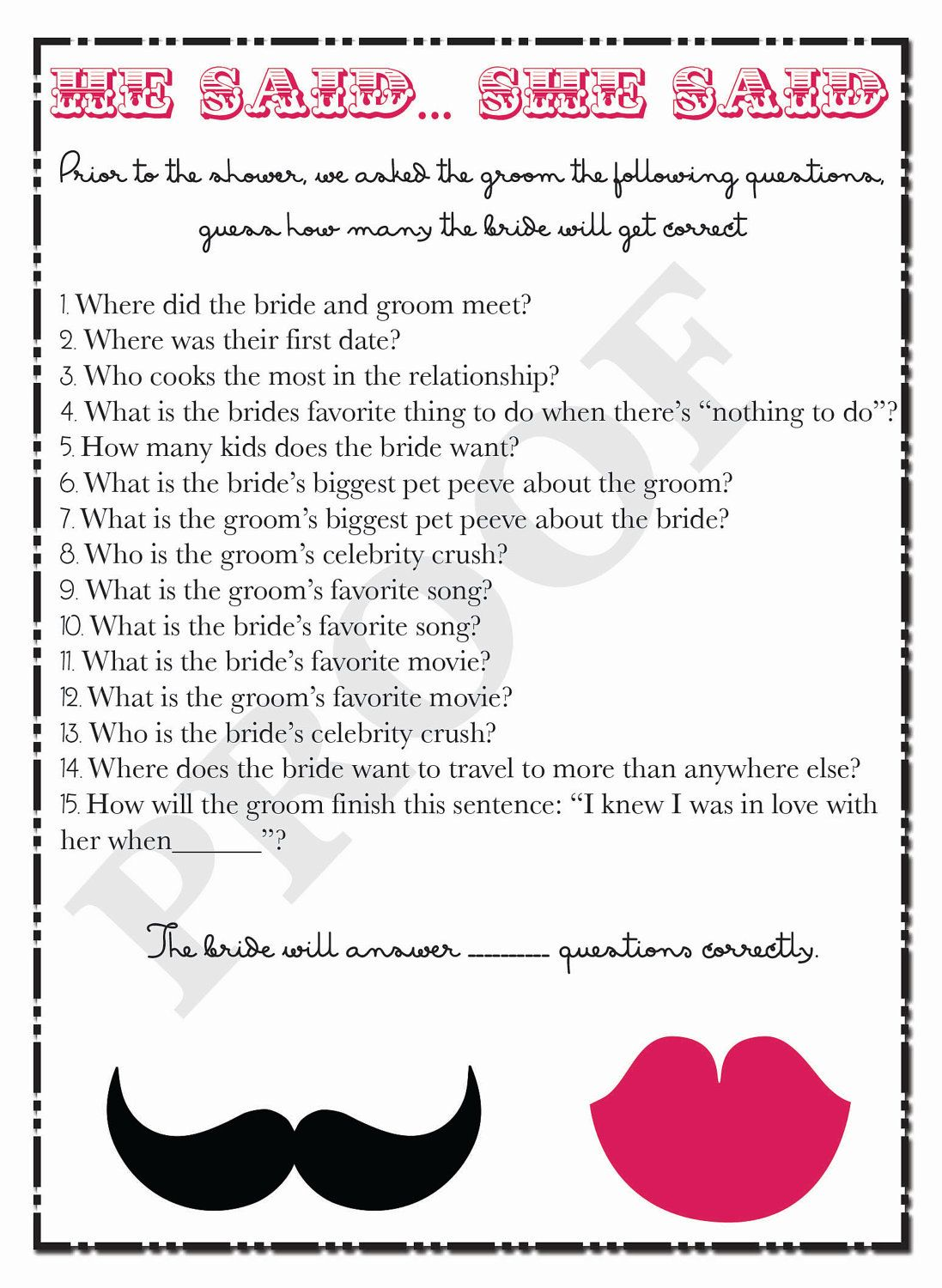 bridal shower game he said she said questions digital download or printable file 2000 via etsy