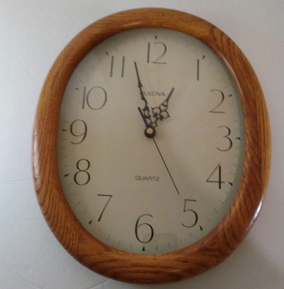 Bulova Quartz Light Brown Oval Wooden Wall Clock Medium Sized Bulova Clock Wall Clock Wooden Walls