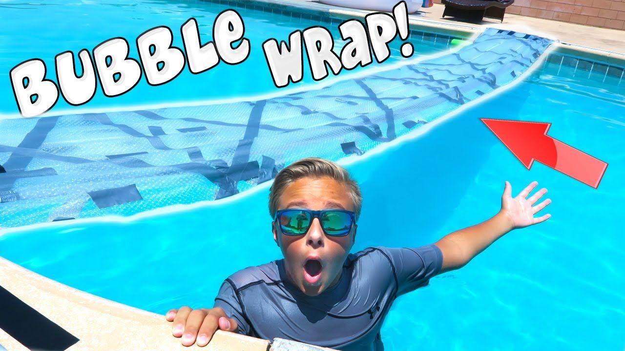 Duct Tape Bubble Wrap Bridge On Backyard Swimming Pool Giant Bubble B Backyard Pool Parties Swimming Pools Backyard Giant Bubbles