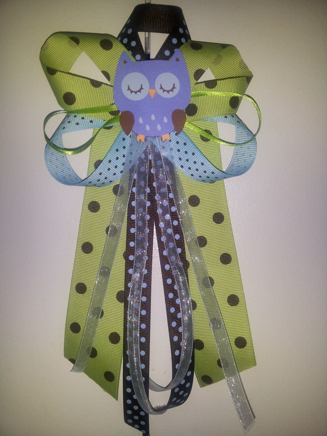 blue OWL baby shower pin/corsage by diapercake4less on Etsy, $10.49