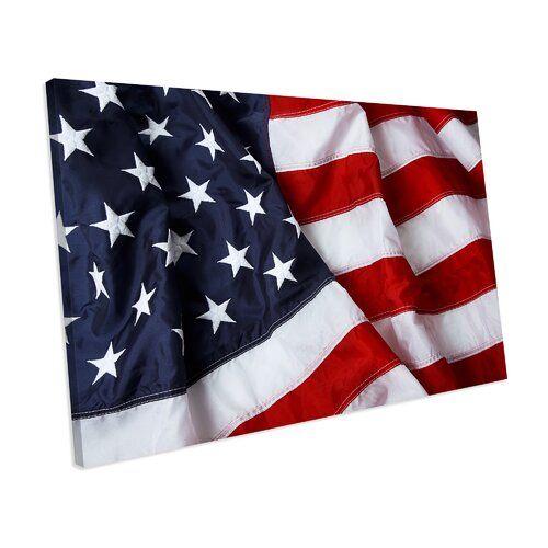 Leinwandbild Amerikanische Flagge ModernMoments Größe: 42 cm H x 62 cm B