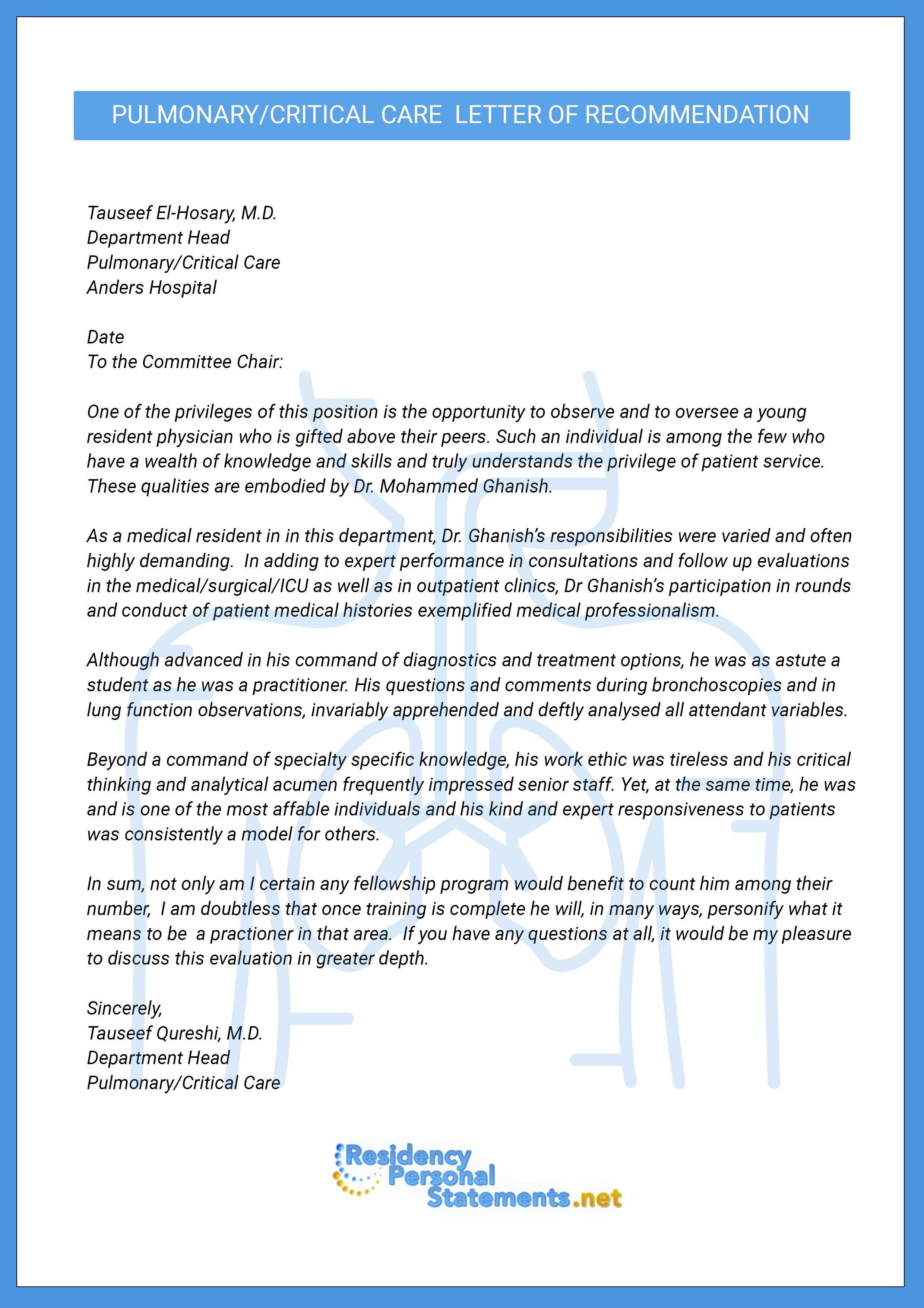 Residency Recommendation Letter Sample New Of Re Mendation For Medical Fellowship A Word Lettering Pulmonary Critical Care Personal Statement