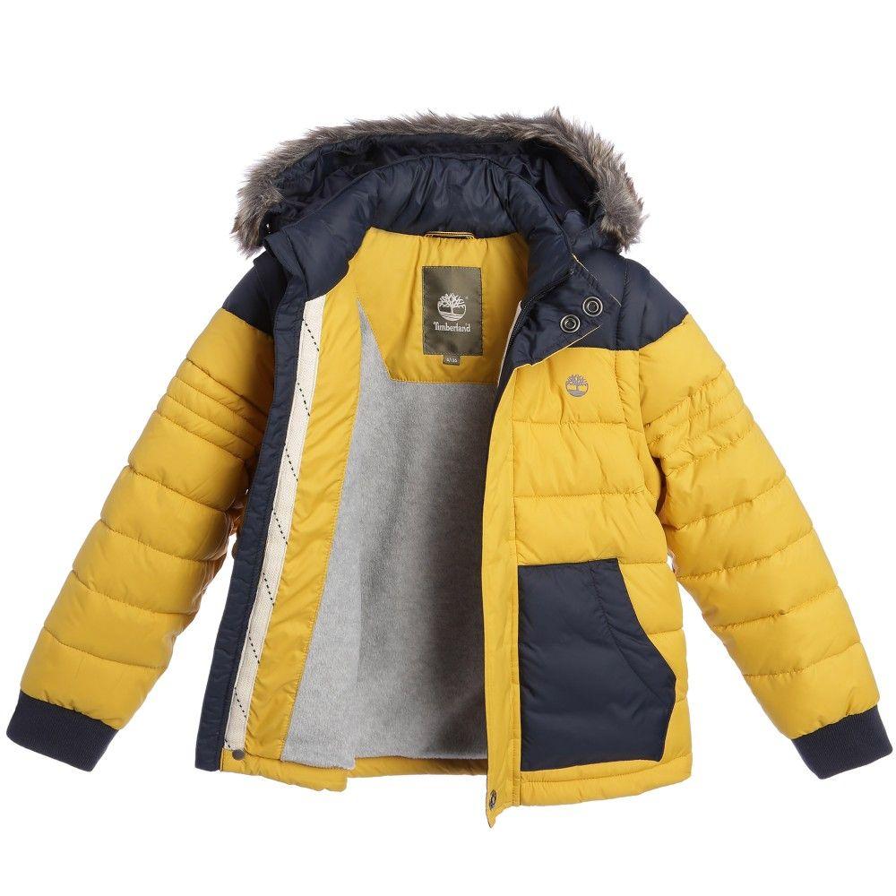 ea72e25eb Timberland - Boys Navy Blue   Yellow Puffer Jacket